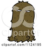 Fantasy Cartoon Of A Brown Hairy Halloween Monster Royalty Free Vector Clipart