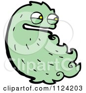 Fantasy Cartoon Of A Green Hairy Alien Or Halloween Monster Royalty Free Vector Clipart