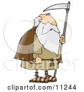 Old Bearded Man Father Time Holding A Scythe