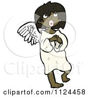 Fantasy Cartoon Of A Black Angel Royalty Free Vector Clipart by lineartestpilot