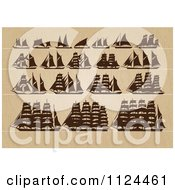 Clipart Of Silhoeutted Ships On Wood Royalty Free Vector Illustration