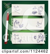 Clipart Of A Pen And Paperclips On Green With Sketched School Website Banners Royalty Free Vector Illustration by Eugene