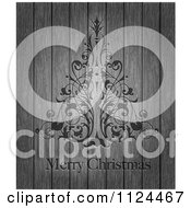 Clipart Of An Ornate Floral Tree And Merry Christmas Text On Wood Royalty Free Vector Illustration by Eugene