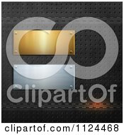 Clipart Of 3d Gold And Silver Plaques On Perforated Black Leather Royalty Free Vector Illustration