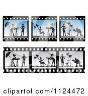 Clipart Of Film Frames Of A Model And Photographer Royalty Free Vector Illustration