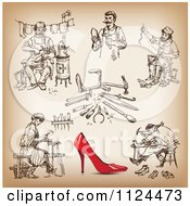 Clipart Of A Red High Heel And Shoe Maker Sketches Royalty Free Vector Illustration by Eugene
