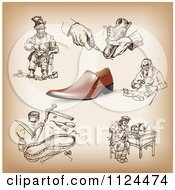 Clipart Of A Shoe And Shoemaker Sketches Royalty Free Vector Illustration by Eugene