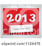 Happy New Year Greeting And Suspended 2013 On Red