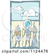 Clipart Of Woodcut Anubis Gods And Desert Royalty Free Vector Illustration by xunantunich