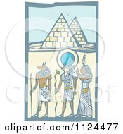 Clipart Of Woodcut Anubis Gods And Egyptian Pyramids Royalty Free Vector Illustration