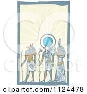 Clipart Of Woodcut Anubis Gods And Rays Royalty Free Vector Illustration by xunantunich