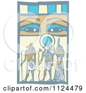 Clipart Of Woodcut Anubis Gods And Eyes Royalty Free Vector Illustration by xunantunich
