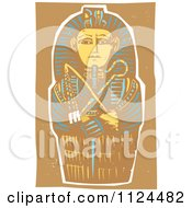 Clipart Of A Woodcut Egyptian Coffinette Of King Tutankhamen Royalty Free Vector Illustration by xunantunich