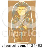 Woodcut Egyptian Coffinette Of King Tutankhamen