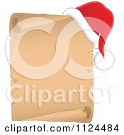 Cartoon Of A Christmas Santa Hat On The Corner Of A Parchment Page Royalty Free Vector Clipart