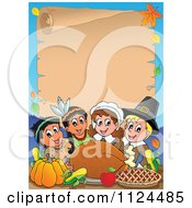 Cartoon Of Happy Pilgrims And Indians Sharing A Thanksgiving Feast And Parchment Page Royalty Free Vector Clipart