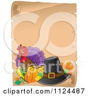 Cartoon Of A Cute Thanksgiving Turkey Bird And Parchment Page Royalty Free Vector Clipart
