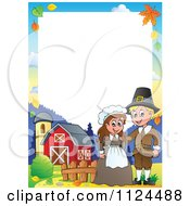 Cartoon Of A Thanksgiving Pilgrim Couple On A Farm Border Royalty Free Vector Clipart