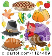 Cartoon Of Thanksgiving Items Royalty Free Vector Clipart
