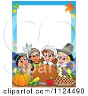 Cartoon Of Happy Pilgrims And Indians Sharing A Thanksgiving Feast Border Royalty Free Vector Clipart by visekart