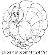 Cartoon Of An Outlined Cute Turkey Bird Royalty Free Vector Clipart by visekart
