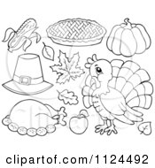 Cartoon Of Outlined Thanksgiving Items Royalty Free Vector Clipart by visekart