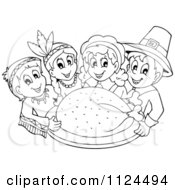 Cartoon Of An Outlined Thanksgiving Turkey With Pilgrims And Indians Royalty Free Vector Clipart by visekart