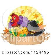 Cartoon Of A Cute Thanksgiving Turkey Bird With A Pilgrim Hat Over Rays With A Banner Royalty Free Vector Clipart