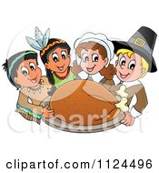 Cartoon Of Happy Pilgrims And Indians Holding A Thanksgiving Roasted Turkey Royalty Free Vector Clipart