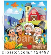 Cartoon Of Happy Pilgrims And Indians Having A Feast On A Farm Royalty Free Vector Clipart
