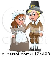 Cartoon Of A Thanksgiving Pilgrim Couple Royalty Free Vector Clipart by visekart