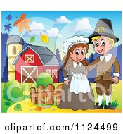 Cartoon Of A Thanksgiving Pilgrim Couple On A Farm Royalty Free Vector Clipart by visekart