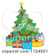 Cartoon Of A Happy Christmas Tree With Gifts Royalty Free Vector Clipart by visekart