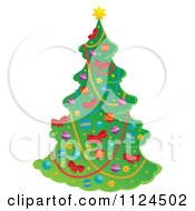Cartoon Of A Decorated Christmas Tree Royalty Free Vector Clipart