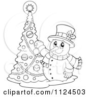 Cartoon Of An Outlined Happy Snowman Decorating A Christmas Tree Royalty Free Vector Clipart