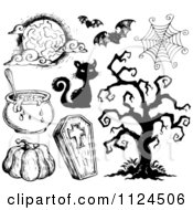 Clipart Of Sketched Black And White Halloween Items 2 Royalty Free Vector Illustration by visekart