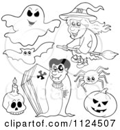 Cartoon Of Outlined Halloween Items 1 Royalty Free Vector Clipart