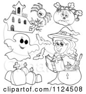 Cartoon Of Outlined Halloween Items 2 Royalty Free Vector Clipart by visekart