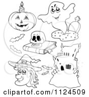 Cartoon Of Outlined Halloween Items 3 Royalty Free Vector Clipart by visekart