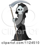 Cartoon Of A Watching Hooded Grim Reaper With A Scythe Royalty Free Vector Clipart by visekart