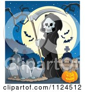 Cartoon Of A Watching Hooded Grim Reaper With A Scythe In A Cemetery Against A Full Moon Royalty Free Vector Clipart by visekart