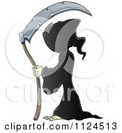 Cartoon Of A Hooded Grim Reaper With A Scythe Royalty Free Vector Clipart by visekart