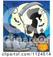 Cartoon Of A Hooded Grim Reaper With A Scythe In A Cemetery Against A Full Moon Royalty Free Vector Clipart