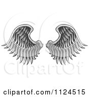 Clipart Of A Pair Of Angel Wings 2 Royalty Free Vector Illustration