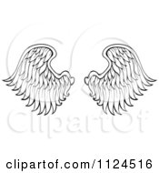 Clipart Of A Pair Of Black And White Angel Wings Royalty Free Vector Illustration