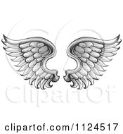 Clipart Of A Pair Of Angel Wings 1 Royalty Free Vector Illustration by visekart