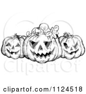Clipart Of A Sketched Black And White Trio Of Grinning Halloween Jackolanter Pumpkins Royalty Free Vector Illustration