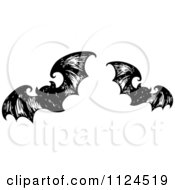 Clipart Of Sketched Black And White Flying Halloween Bats 1 Royalty Free Vector Illustration