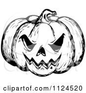 Clipart Of A Sketched Black And White Evil Halloween Jackolantern Pumpkin Royalty Free Vector Illustration by visekart #COLLC1124520-0161