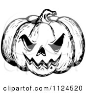 Clipart Of A Sketched Black And White Evil Halloween Jackolantern Pumpkin Royalty Free Vector Illustration